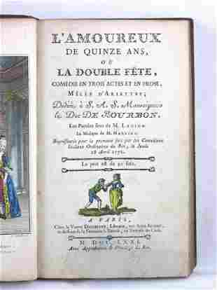 FRENCH PLAYS. Group of 4 plays bound in 1 volume. First
