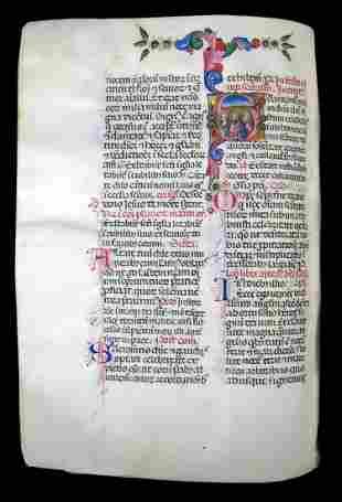 ILLUMINATED MANUSCRIPT. 267 vellum leaves written in a