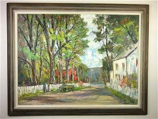 Original oil of a country road by Bela De Tirefort