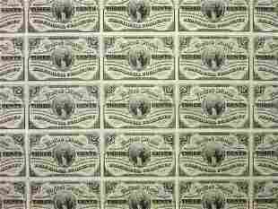 Uncut sheet of US Fractional Currency