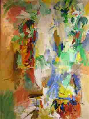 Original Abstract Oil on Canvas by Allen Leepa