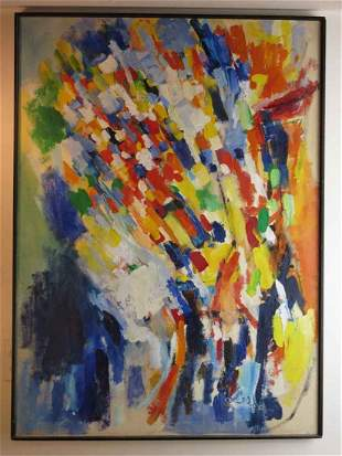 Original Leepa Abstract on Canvas by Allen Leepa
