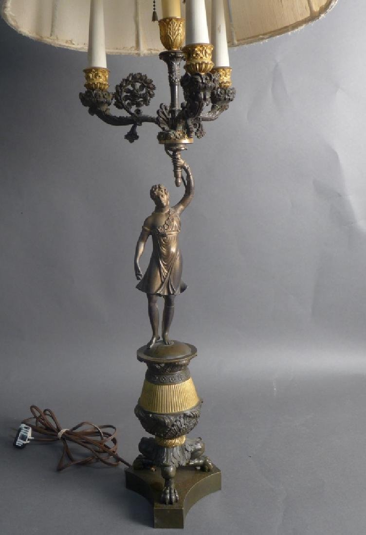 Antique Charles X Style Bronze Lamp - 2