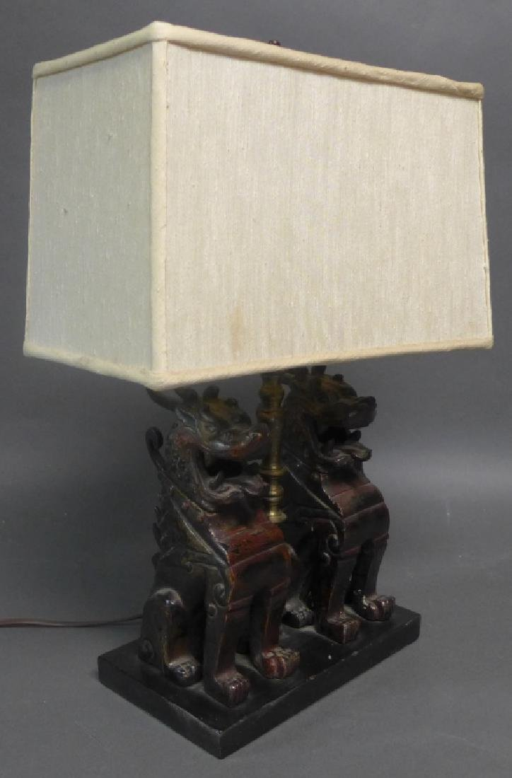 Patinated Bronze Foo Dogs as Lamp