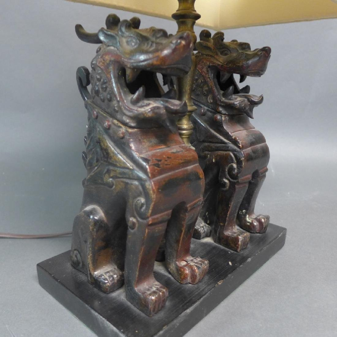 Patinated Bronze Foo Dogs as Lamp - 3