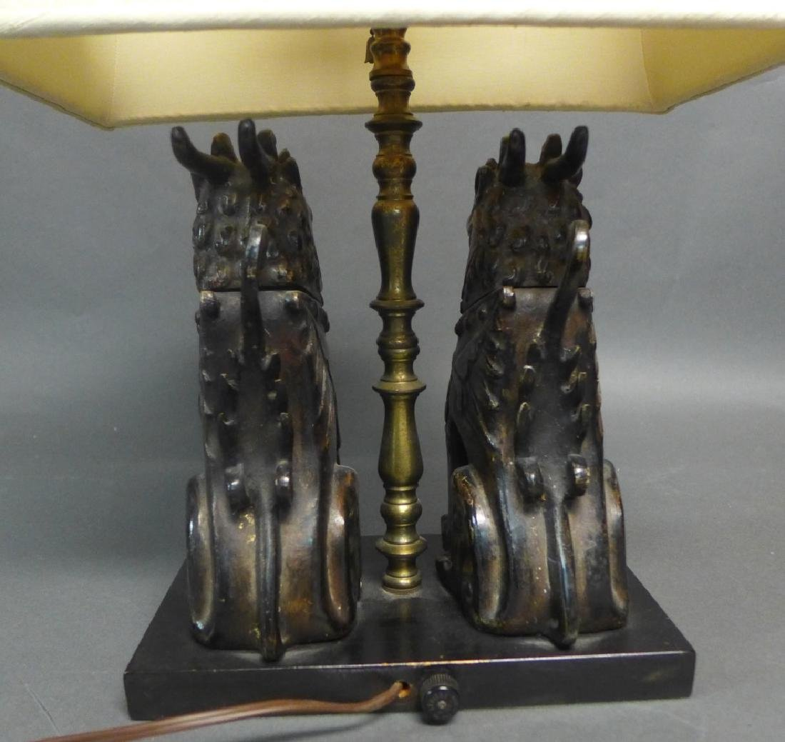 Patinated Bronze Foo Dogs as Lamp - 7