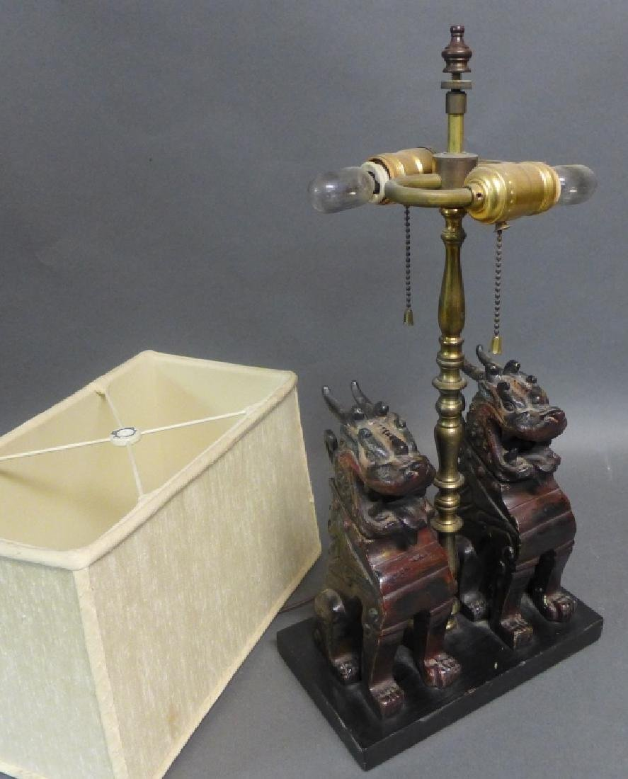 Patinated Bronze Foo Dogs as Lamp - 8