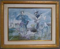 Signed Modern Figural Painting