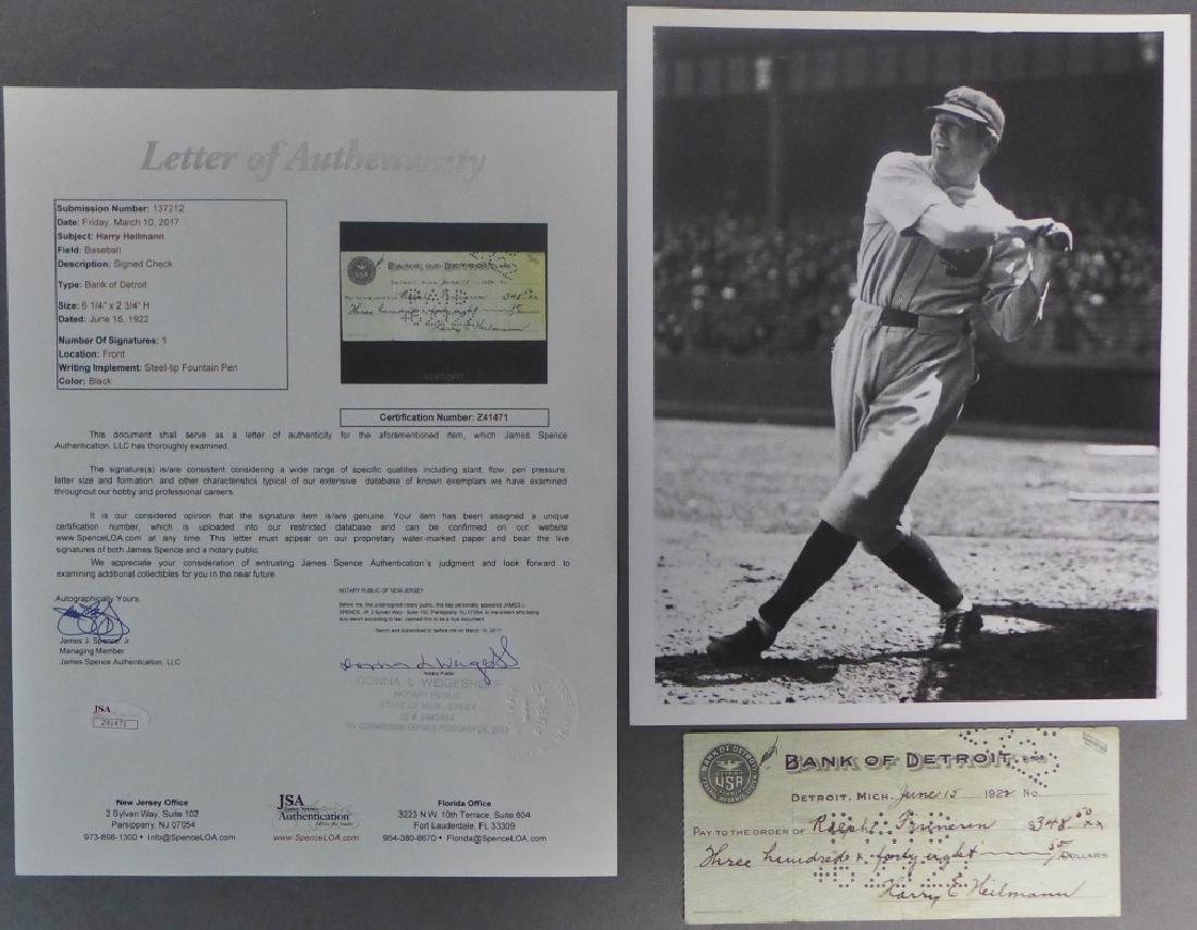 Hall of Famer Harry Heilmann Signed Check w/ JSA