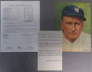 Walter Johnson Signed Document w/ JSA