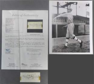Hall of Famer Herb Pennock Signed Cut w/ JSA & Photo