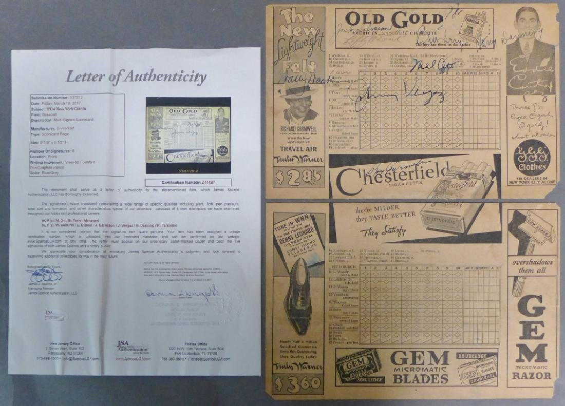 1934 New York Giants Multi Signed Scorecard w/ JSA