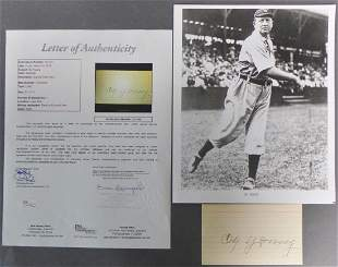Hall of Famer Cy Young Autographed Signature w/ JSA