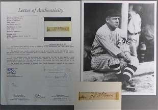 Hall of Famer John McGraw Signed Mounted Cut w/ JSA