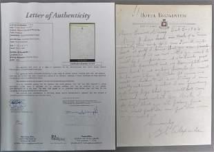 Grover Cleveland Alexander Signed Letter w/ JSA