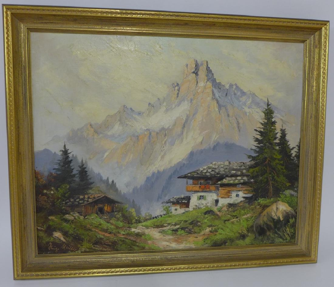 Signed Mountain Scene Oil Painting