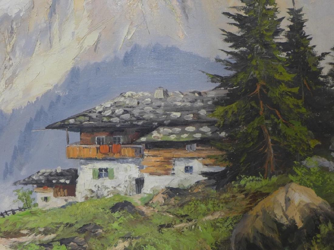 Signed Mountain Scene Oil Painting - 3