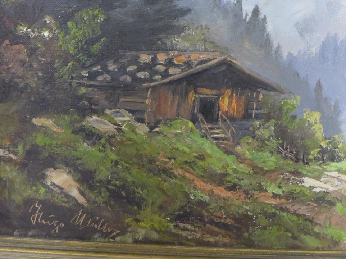 Signed Mountain Scene Oil Painting - 4