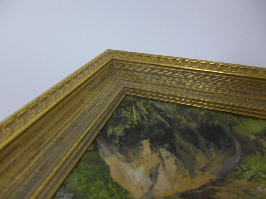 Signed Mountain Scene Oil Painting - 6