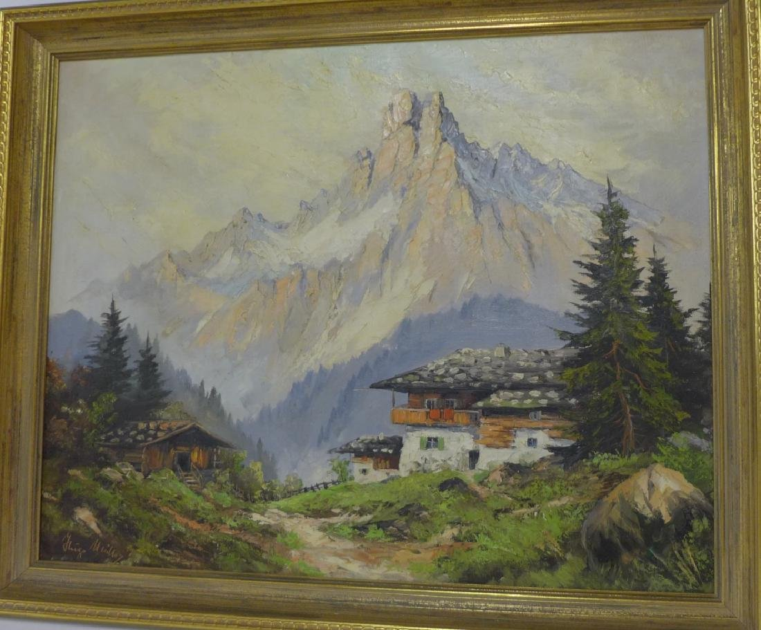 Signed Mountain Scene Oil Painting - 7