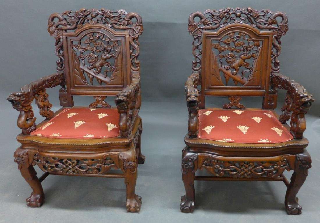 Pair of Chinese Carved Hardwood Chairs