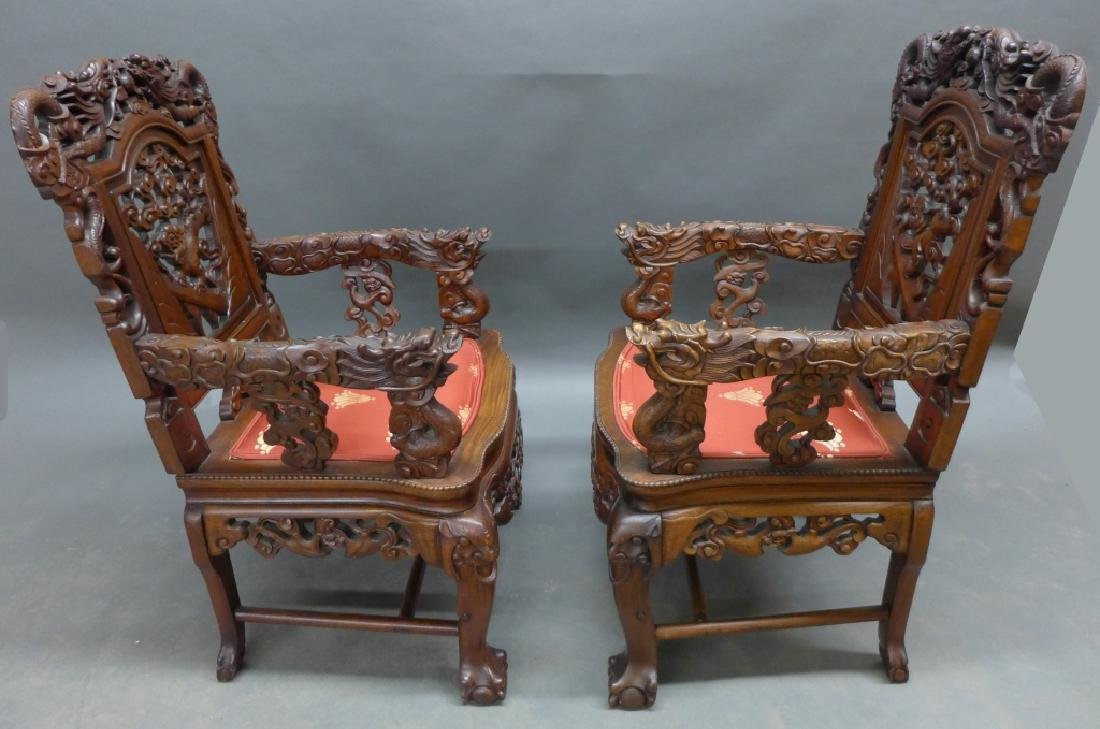 Pair of Chinese Carved Hardwood Chairs - 2