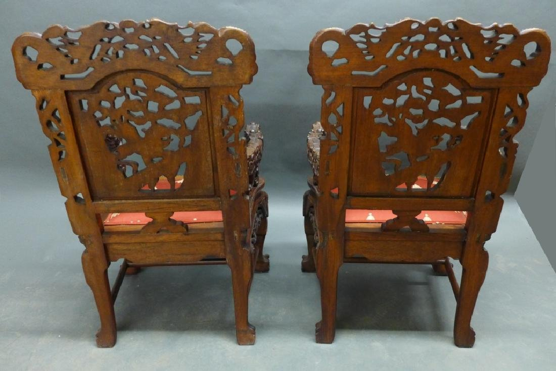 Pair of Chinese Carved Hardwood Chairs - 3
