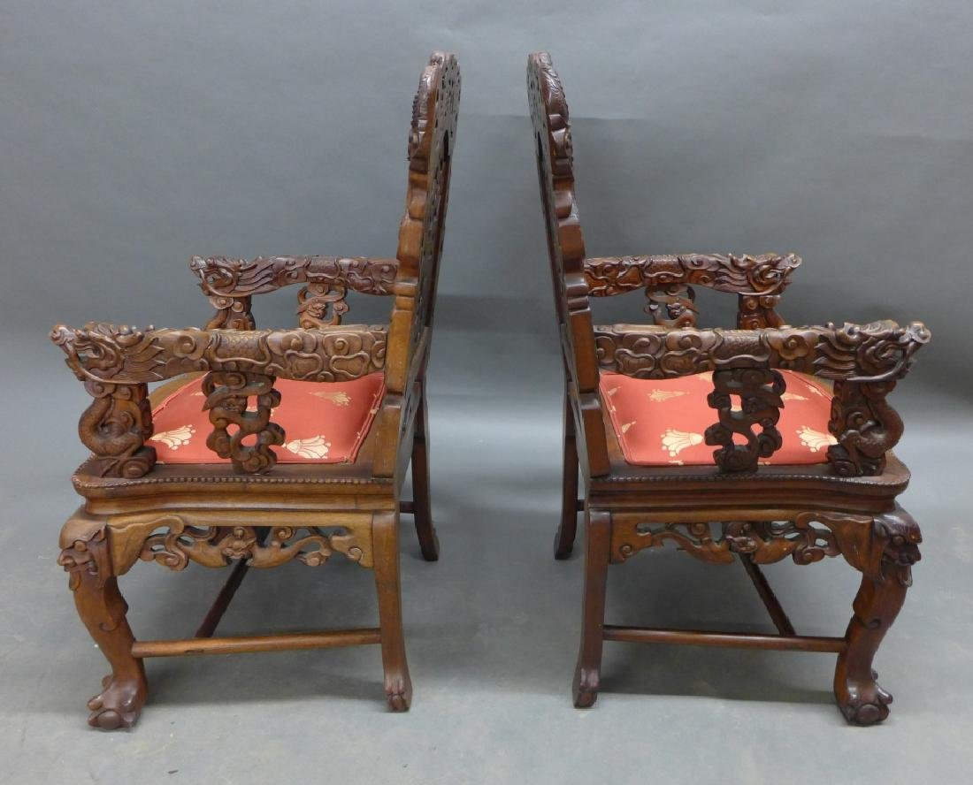 Pair of Chinese Carved Hardwood Chairs - 4