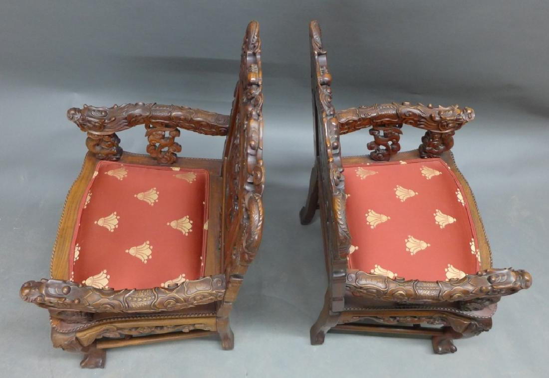Pair of Chinese Carved Hardwood Chairs - 5
