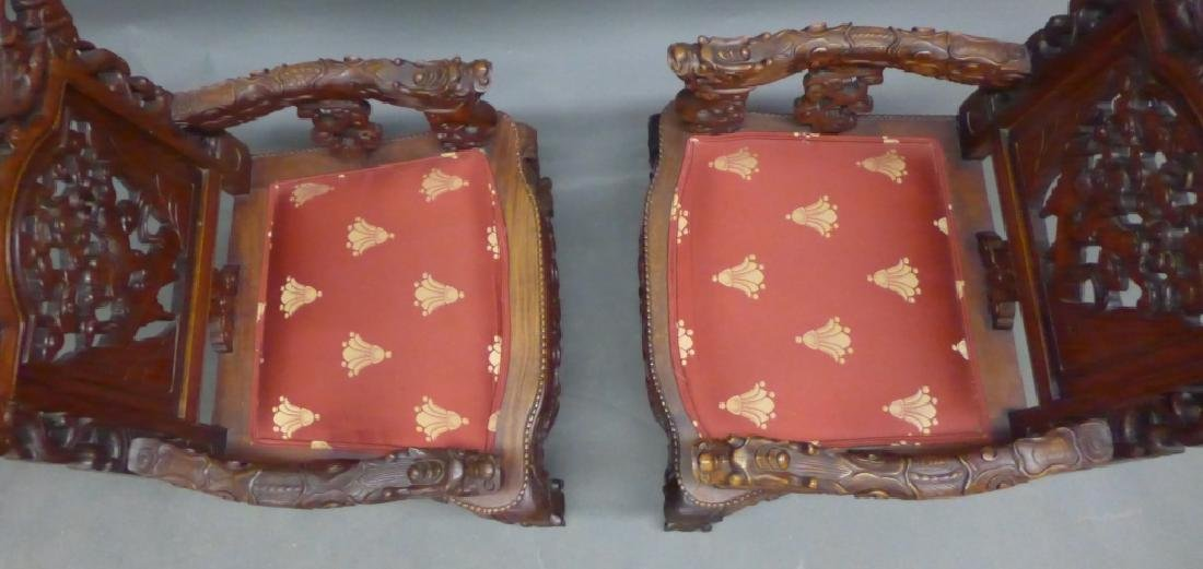 Pair of Chinese Carved Hardwood Chairs - 6