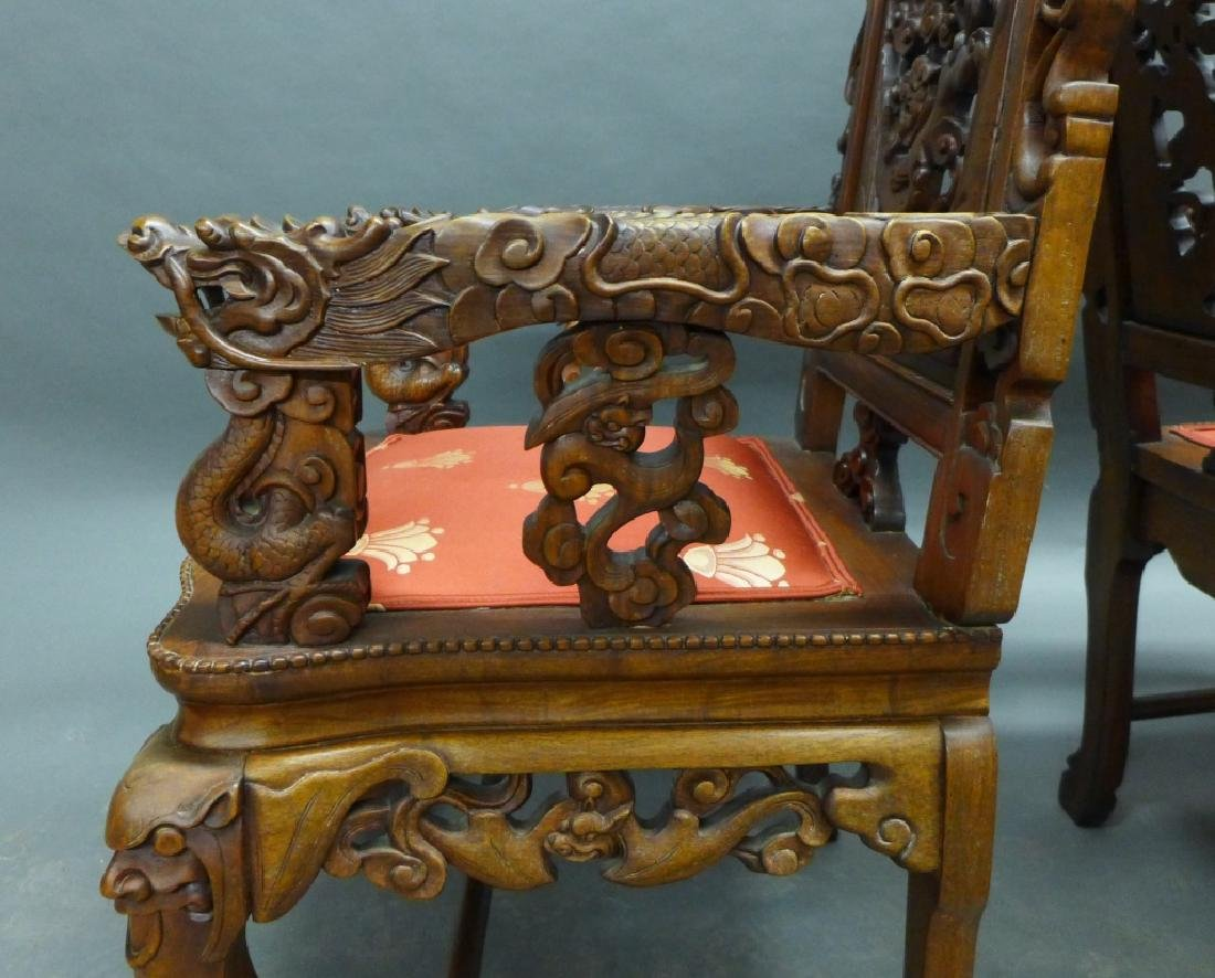 Pair of Chinese Carved Hardwood Chairs - 7