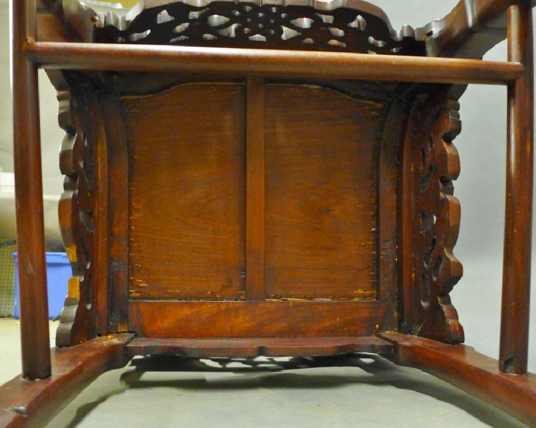 Pair of Chinese Carved Hardwood Chairs - 9