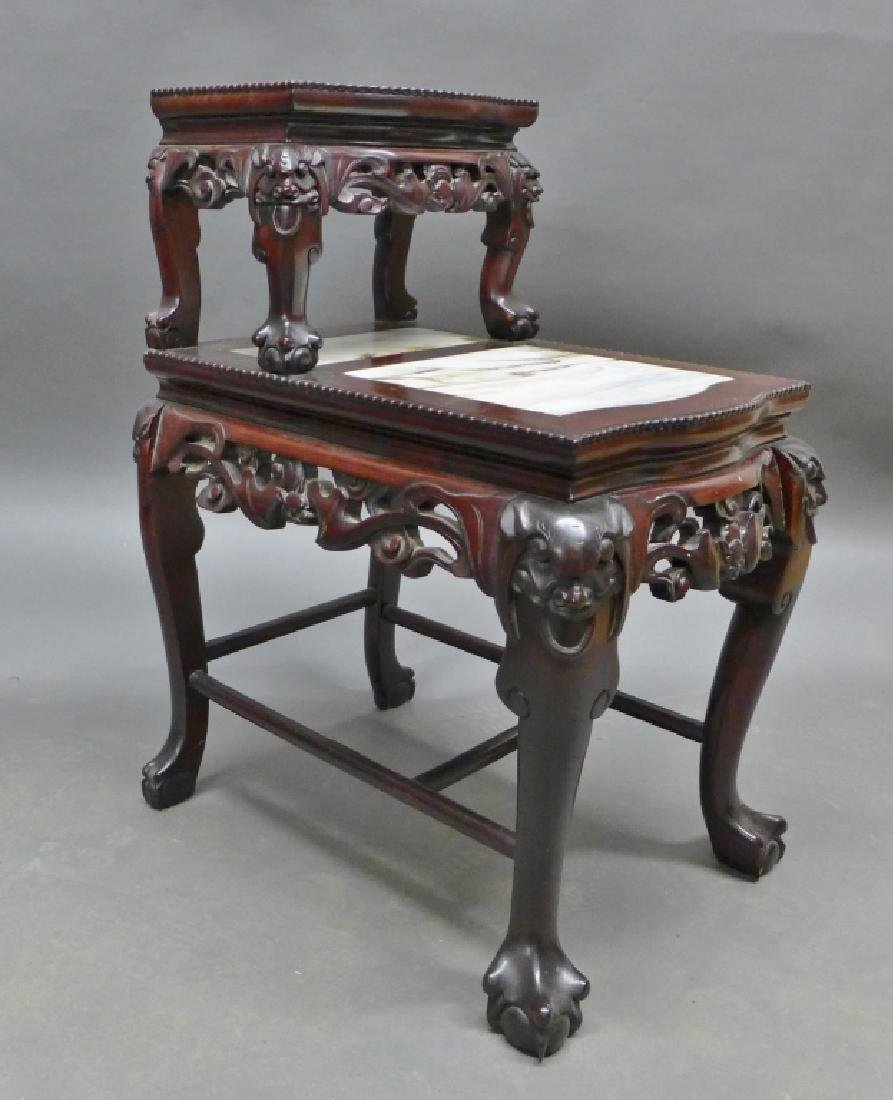 Chinese Carved Hardwood & Marble Step Table