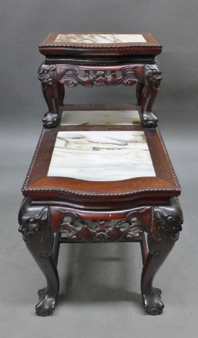 Chinese Carved Hardwood & Marble Step Table - 2
