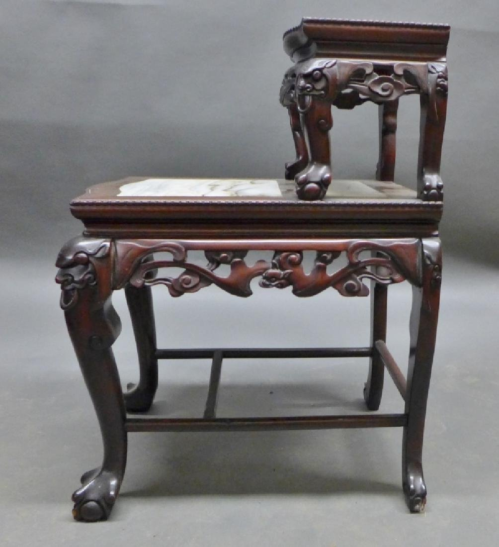 Chinese Carved Hardwood & Marble Step Table - 3