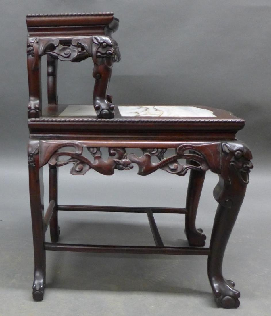 Chinese Carved Hardwood & Marble Step Table - 5