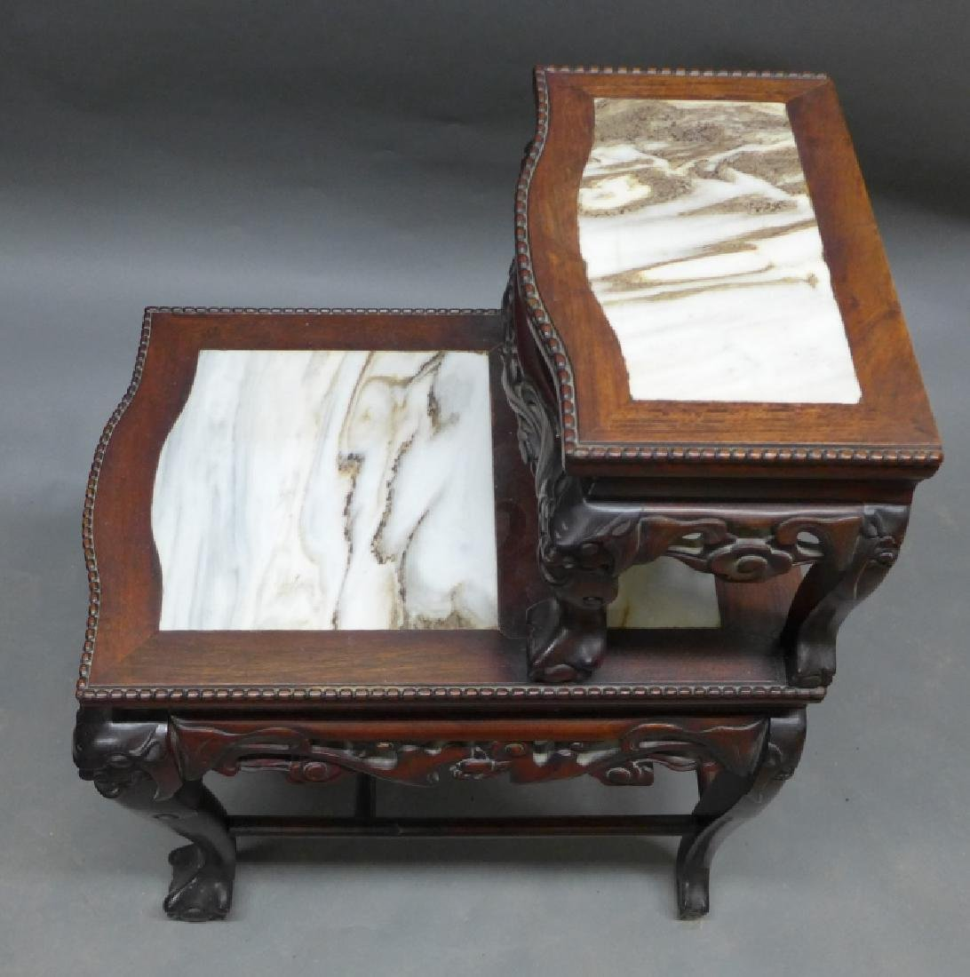 Chinese Carved Hardwood & Marble Step Table - 9