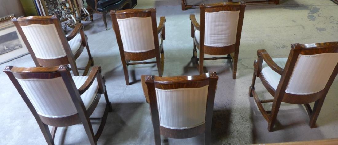 Set of 6 Tiger Strip Oak Carved Figural Chairs - 10