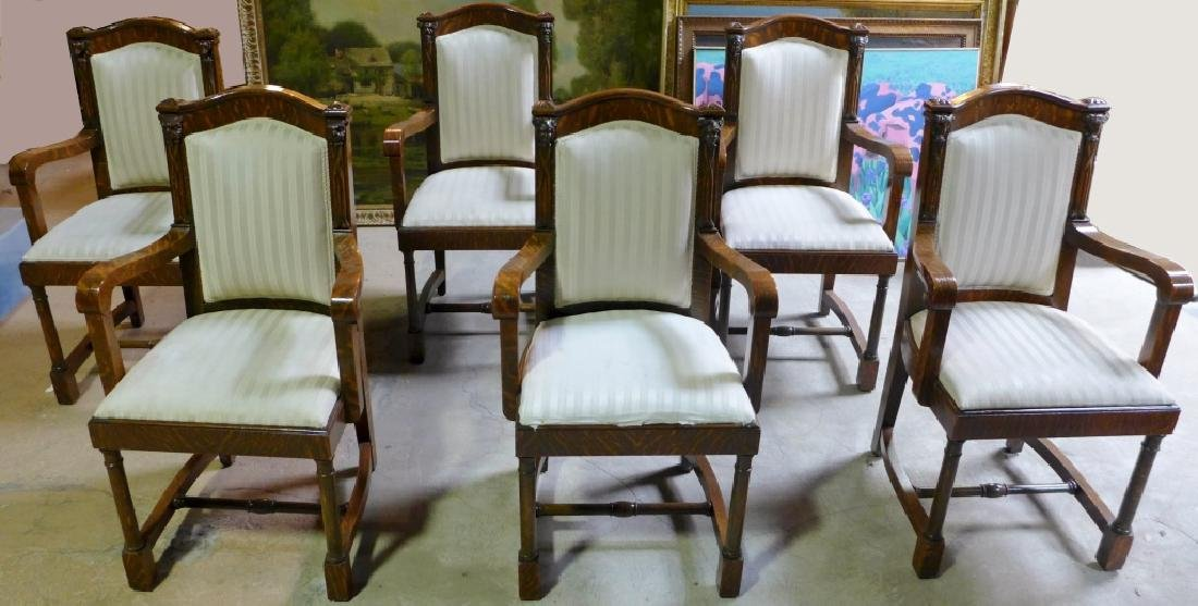 Set of 6 Tiger Strip Oak Carved Figural Chairs