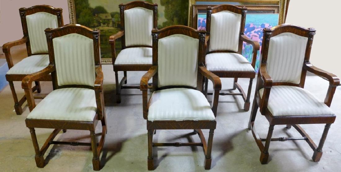 Set of 6 Tiger Strip Oak Carved Figural Chairs