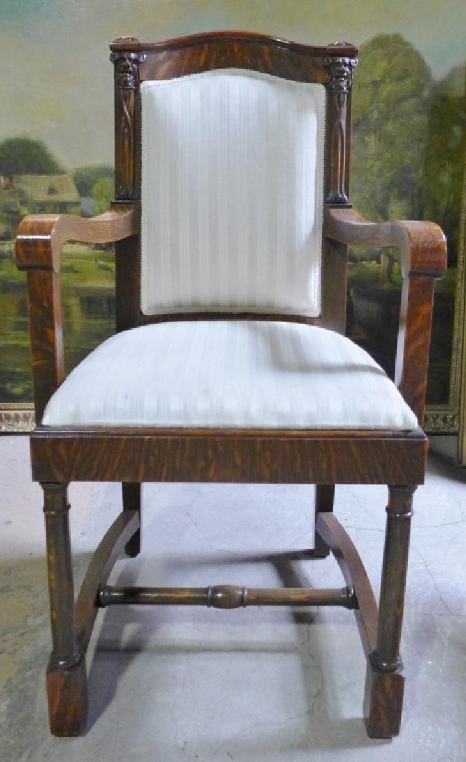 Set of 6 Tiger Strip Oak Carved Figural Chairs - 2
