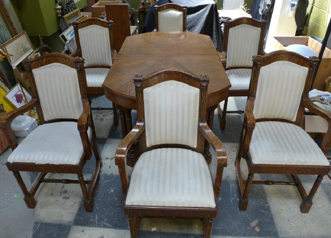 Set of 6 Tiger Strip Oak Carved Figural Chairs - 3