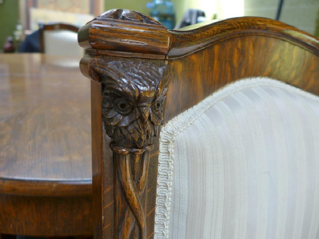 Set of 6 Tiger Strip Oak Carved Figural Chairs - 4