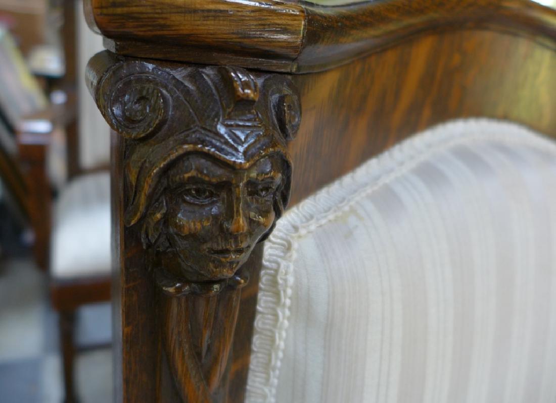 Set of 6 Tiger Strip Oak Carved Figural Chairs - 5