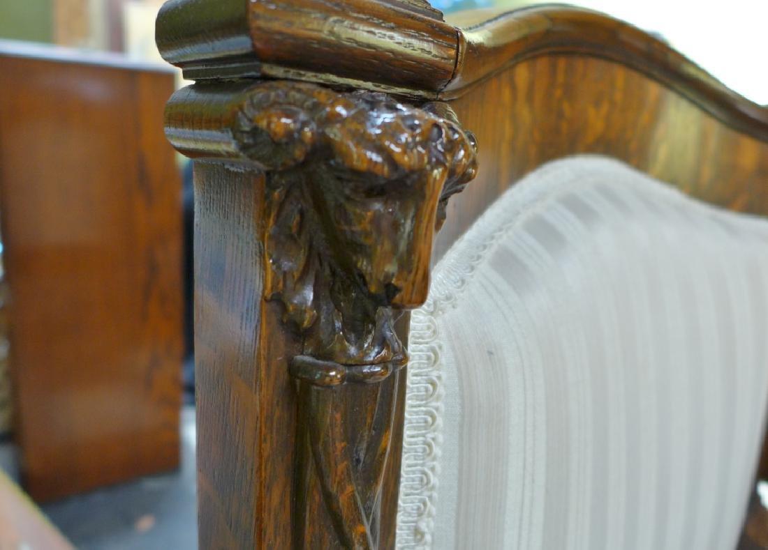 Set of 6 Tiger Strip Oak Carved Figural Chairs - 6