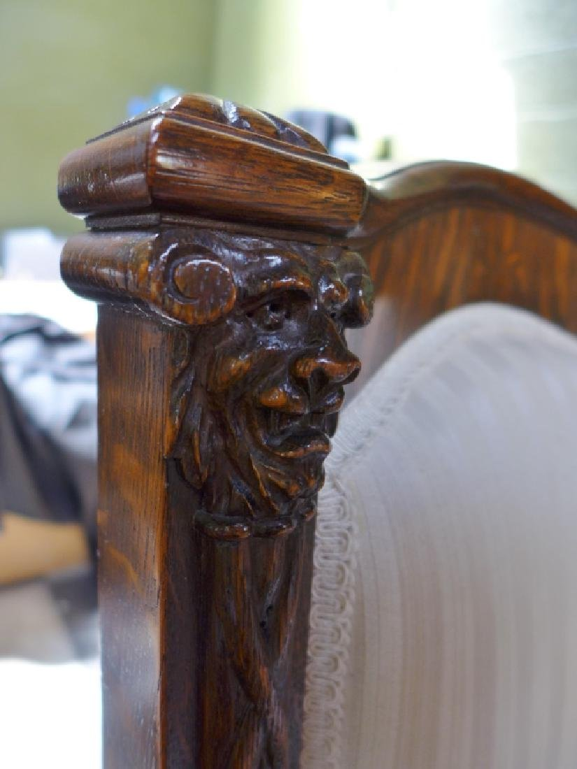 Set of 6 Tiger Strip Oak Carved Figural Chairs - 8
