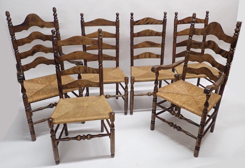 Set of Six Ladderback Chairs