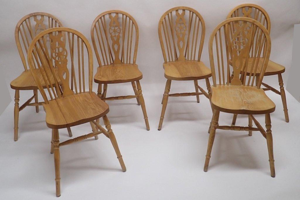 Set of Six Oak Wheel Back Chairs