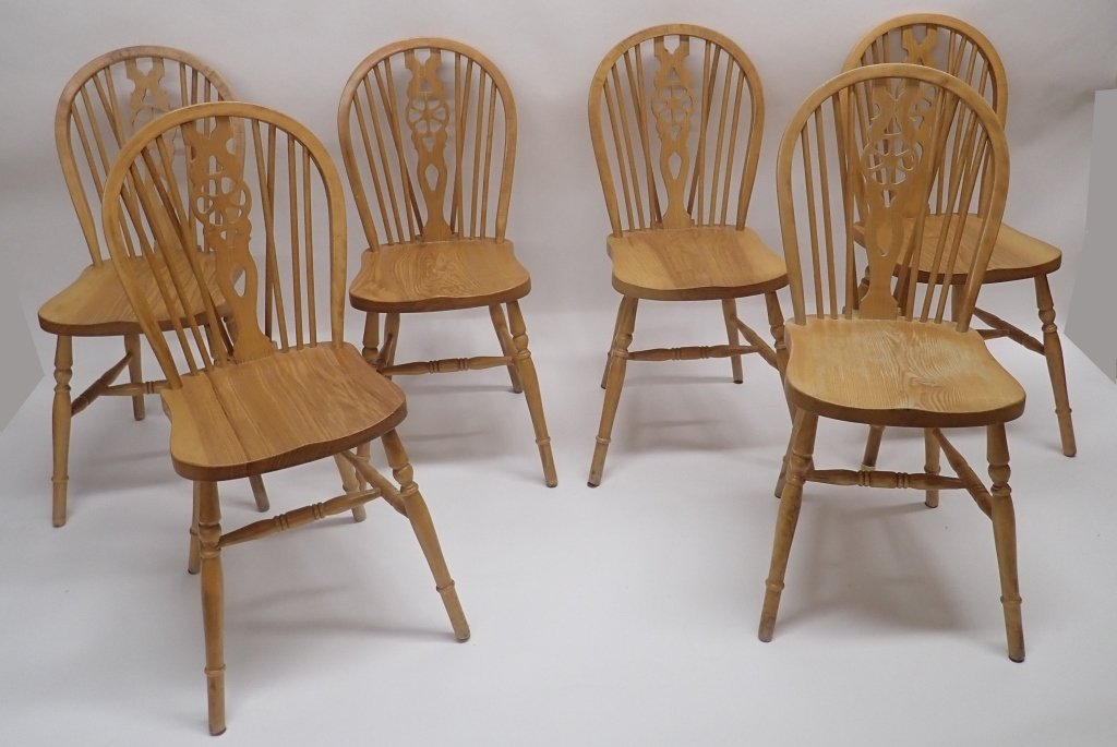 Set of Six Oak Wheel Back Chairs