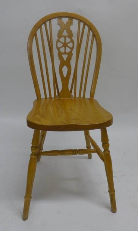 Set of Six Oak Wheel Back Chairs - 2